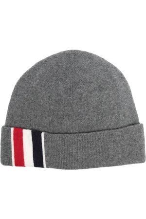 Thom Browne Men Beanies - Stripe detail merino beanie - Grey