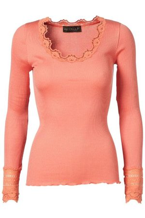 Rosemunde Silk top long sleeve w lace Dark Peach