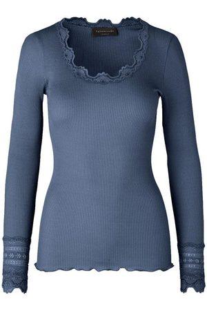 Rosemunde Silk top long sleeve w lace Denim