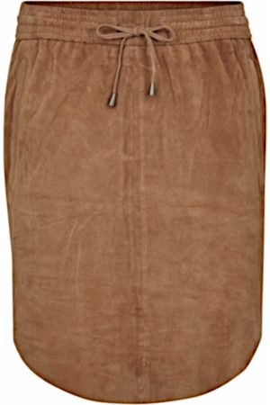 Second Female Women Leather Skirts - Pril Suede Tan Camel Skirt