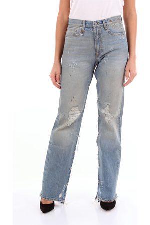 R13 Women Boyfriend Jeans - Five pockets boyfriend clear jeans