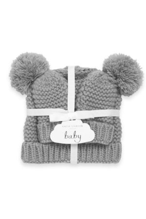 Katie Loxton Hats - Baby Hat and Mittens Set Grey BA0041