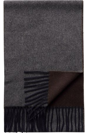 Eton Men Scarves - Dark Grey/ Brown Double Sided Wool Scarf A00031893700