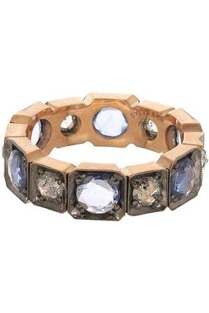 Sylva & Cie Rose Cut Diamond and Sapphire Band Ring