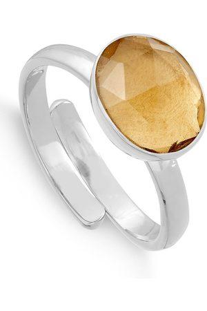 SVP JEWELLERY SVP Atomic Midi Adjustable Ring - Champagne Quartz & Silver