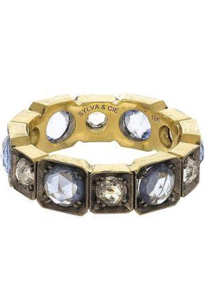 Sylva & Cie Blue Sapphire and Diamond Band Ring
