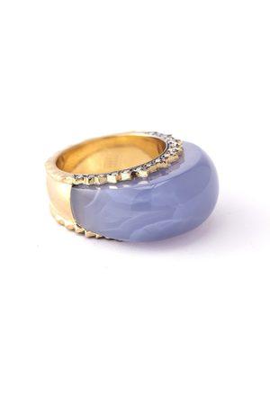 Sylva & Cie Blue Chalcedony and Diamond Ring