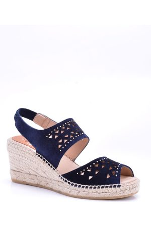 Kanna Ania Navy Punched Wedge Espadrilles