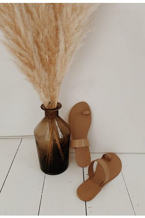 YAYA Women Slippers - Leather slipper wheat
