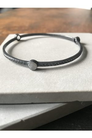 WINDOW DRESSING THE SOUL Women Accessories - WDTS Oxidised 925 hammered tri stone bangle