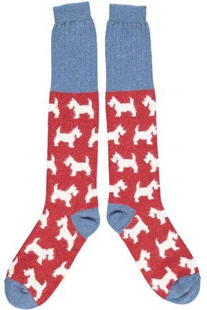 Catherine Tough Ladies Lambswool Knee Socks Scottie Dogs
