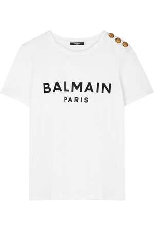 Balmain Women T-shirts - Logo-flocked cotton T-shirt