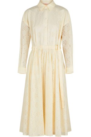 Tory Burch Ivory eyelet-embroidered cotton shirt dress