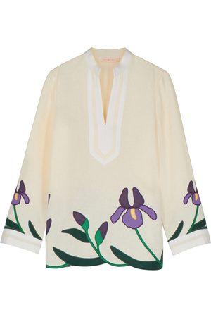 Tory Burch Ivory floral-appliquéd cotton linen tunic