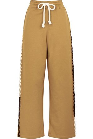 J.W.Anderson Camel embroidered wide-leg cotton sweatpants