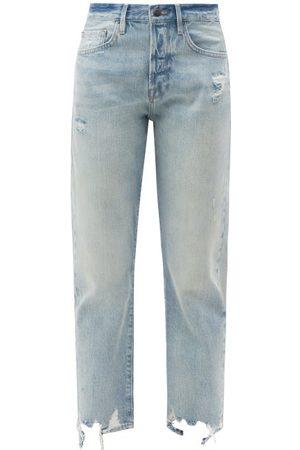 Frame Original Distressed High-rise Straight-leg Jeans - Womens - Light Denim