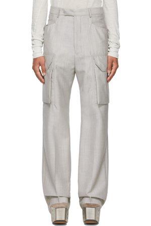 Rick Owens Grey Mohair Tailored Flat Cargo Pants