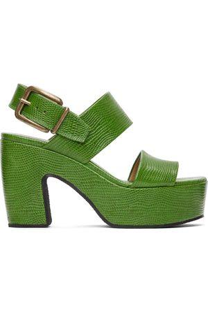 DRIES VAN NOTEN Green Snake Platform Heeled Sandals