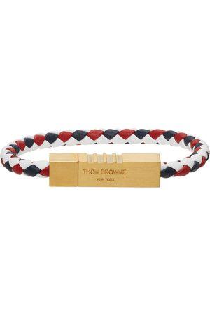 Thom Browne White & Gold Braided Cord Bracelet