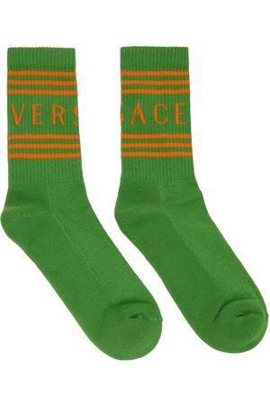 VERSACE Green & Orange Logo Socks
