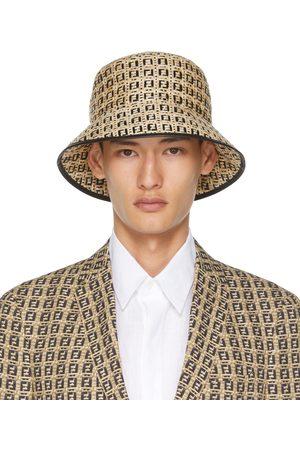 Fendi Beige & Black Woven Bucket Hat