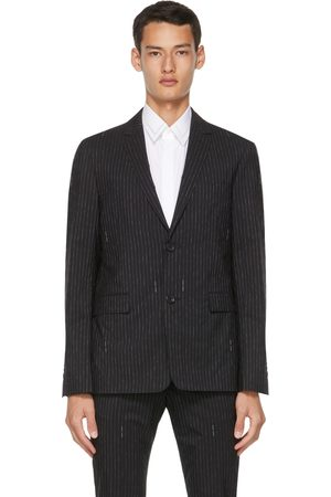Fendi Black Pinstripe Logo Blazer