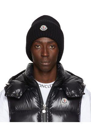 Moncler Black Cashmere Logo Beanie