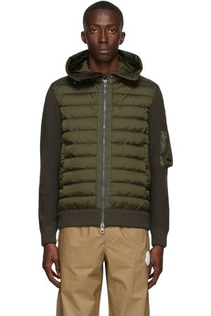 Moncler Green Down Hooded Cardigan