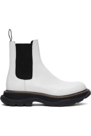 Alexander McQueen White Leather Tread Slick Chelsea Boots