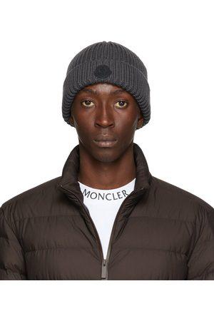 Moncler Grey Knit Wool Beanie