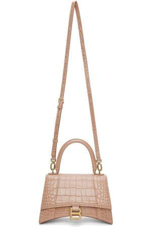 Balenciaga Pink Croc XS Hourglass Top Handle Bag