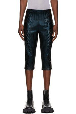 MUGLER Black Shiny Embossed 7/8 Trousers