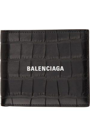 Balenciaga Black Croc Square Folded Cash Coin Wallet
