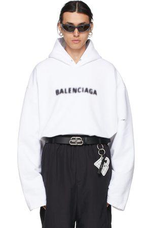 Balenciaga White Blurry Logo Hoodie