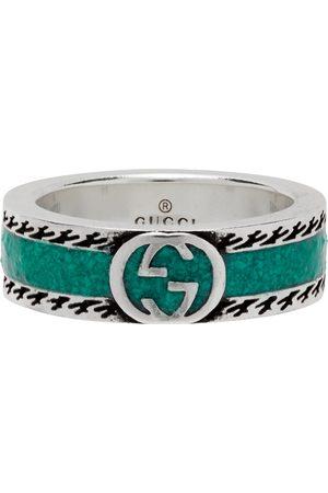 Gucci Silver & Green Interlocking G Ring