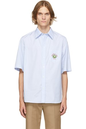 Gucci Blue & White Embroidered Short Sleeve Shirt