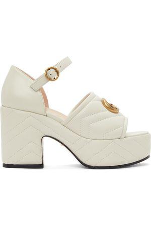 Gucci Off-White Matelassé Platform Heeled Sandals