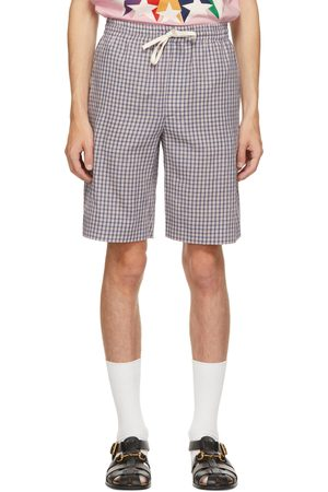 Gucci Blue & Red Check Embroidered Shorts