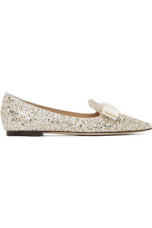 Jimmy Choo Women Loafers - Gold Infinity Glitter Gala Loafers