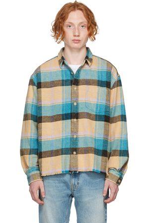 JOHN ELLIOTT Beige & Blue Check Oversized Hemi Shirt