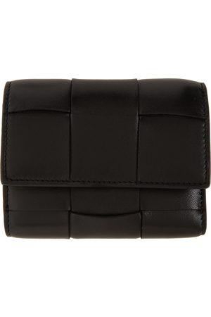 Bottega Veneta Women Wallets - Black Intrecciato Trifold Wallet
