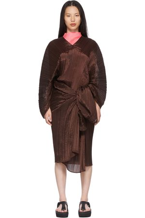 PLEATS PLEASE ISSEY MIYAKE Brown Bouquet Colors Madame T Scarf