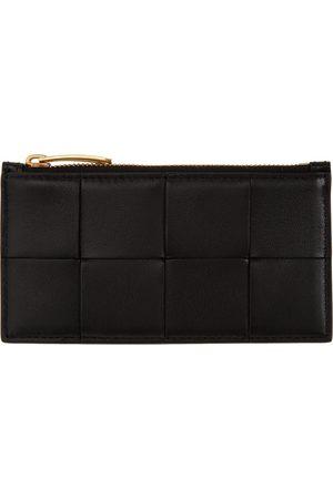 Bottega Veneta Black Intrecciato Zip Card Holder