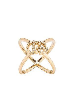 Gucci Running G Cross Diamond Ring in Metallic