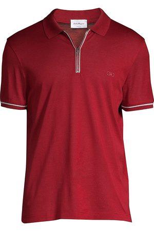 Salvatore Ferragamo Men Polo Shirts - Men's Zip Basic Cotton Polo - - Size XS