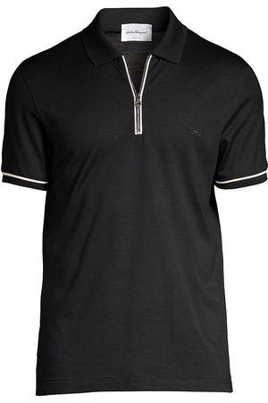 Salvatore Ferragamo Men's Zip Basic Cotton Polo - Navy - Size XS