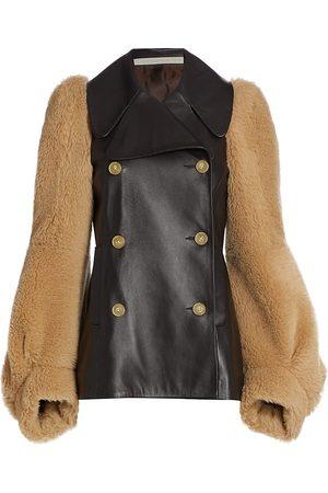 Anna Mason Women's Daphne Leather & Alpaca Fur Pea Coat - Bitter Chocolate - Size 14