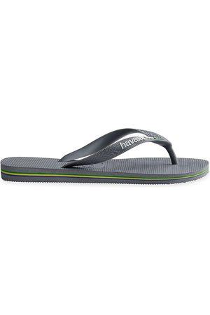 Havaianas Men's Brazil Logo Flip Flops - Steel Grey - Size 9