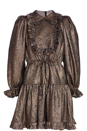 Anna Mason Women's Claudia Metallic Ruffle Trim Dress - Burnished Bronze - Size 2
