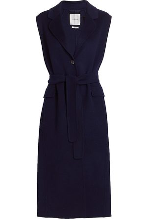 ST. JOHN Women's Belted Vest - Navy - Size Large